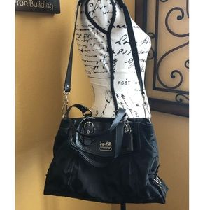 Coach Madison OP Art Carryall Handbag Black